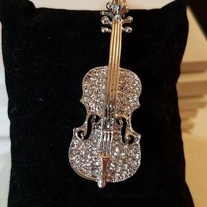 Violin Rhinestone Silver Tone Pin